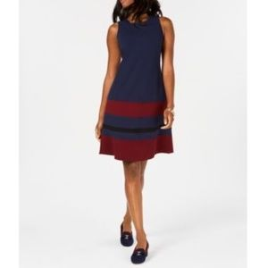 Charter Club Sleeveless Colorblocked Dress Petite